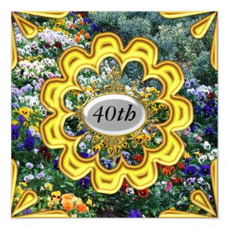 Oro de las invitaciones de la fiesta de cumpleaños invitación 13,3 cm x 13,3cm