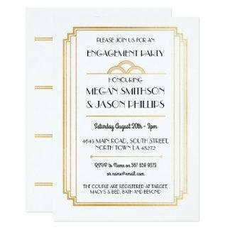 Oro de las invitaciones del fiesta de compromiso invitación 12,7 x 17,8 cm