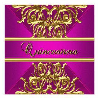 Oro de las rosas fuertes de Quinceanera en el déci Comunicado Personalizado