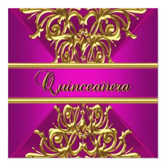 Oro de las rosas fuertes de Quinceanera en el Invitación 13,3 Cm X 13,3cm