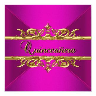 Oro de las rosas fuertes de Quinceanera en el Invitacion Personalizada
