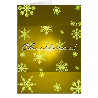 Oro de los copos de nieve del navidad en inglés tarjeta de felicitación
