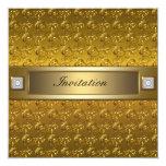 Oro de los remolinos del oro toda la plantilla del invitación