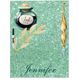 Oro de lujo de la escritura y falso brillo verde pizarra blanca