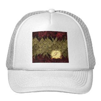 Oro de lujo y rojo del damasco del Grunge con el m Gorra