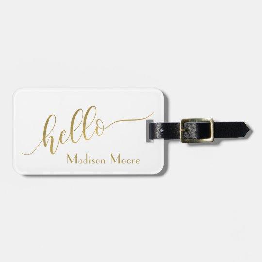 """Oro de moda """"hola"""" nombre personalizado etiqueta para maletas"""