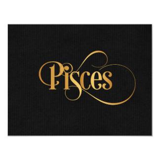 Oro de Piscis de la muestra del zodiaco de la Invitación 10,8 X 13,9 Cm