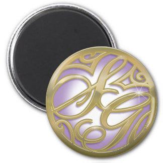 Oro de Supergirl y logotipo púrpura del círculo Imán Redondo 5 Cm