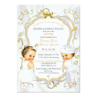 Oro del bautizo del bautismo de los gemelos del invitación 12,7 x 17,8 cm