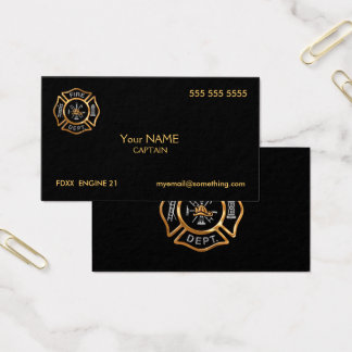 Oro del bombero tarjeta de negocios