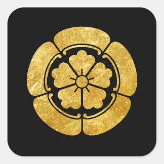 Oro del clan japonés del samurai del Oda lunes Pegatina Cuadrada