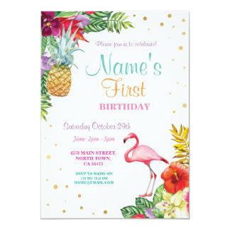 Oro del cumpleaños del chica de la hawaiana del invitación 12,7 x 17,8 cm