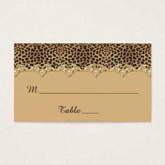 Oro del estampado leopardo y tarjetas del lugar de