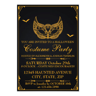 Oro del fiesta del traje de Halloween Invitación 12,7 X 17,8 Cm