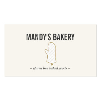 Oro del logotipo del mitón del horno en el beige p tarjeta de negocio