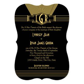 Oro del lugar central del art déco y boda negro invitación 12,7 x 17,8 cm