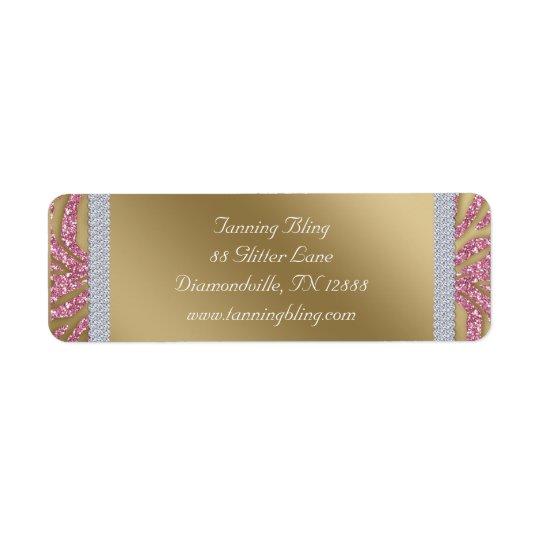 Oro del rosa de la cebra del brillo del salón de etiquetas de remite