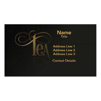 Oro del té de la caligrafía de la escritura de tarjetas de visita