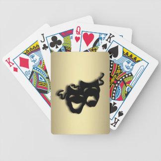 Oro del teatro de la comedia y de la tragedia baraja cartas de poker