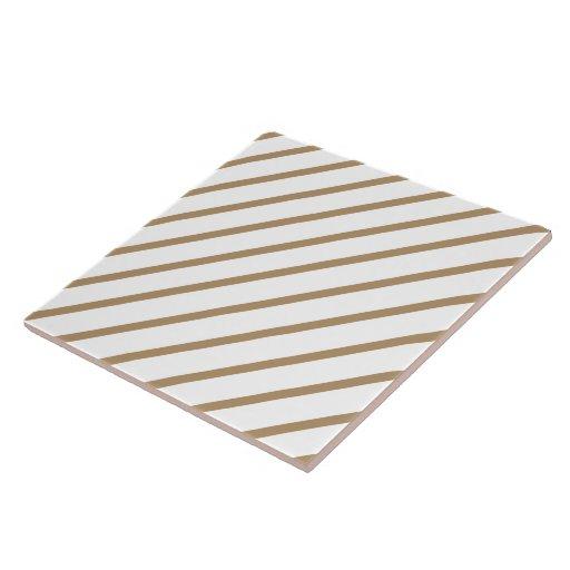 Oro diagonal de la raya de la teja - blanco