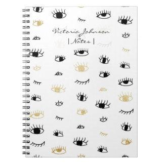 Oro divertido de la moda y modelo de ojos lindo libro de apuntes con espiral