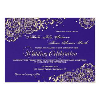Oro e invitación púrpura del boda del cordón de la