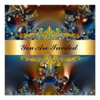 Oro elegante de la fantasía de la fiesta de cumple anuncio personalizado