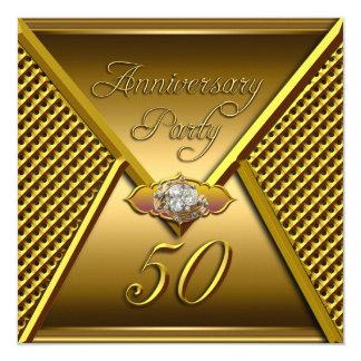 Oro elegante del boda del 50.o aniversario de oro invitación 13,3 cm x 13,3cm
