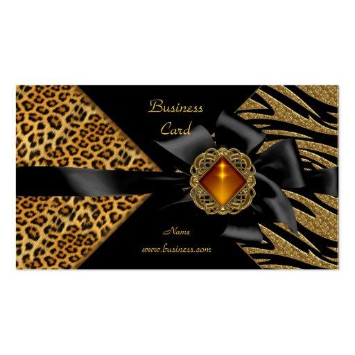 Oro elegante del negro del leopardo de la cebra plantillas de tarjeta de negocio