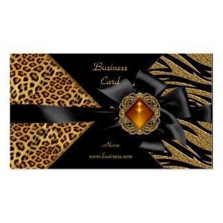 Oro elegante del negro del leopardo de la cebra tarjetas de visita
