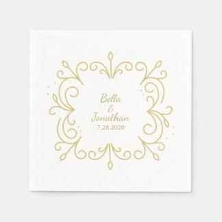 Oro elegante simple del boda y personalizado servilleta desechable