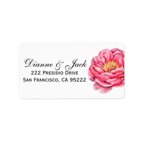 Oro elegante y boda floral de los Peonies Etiquetas De Dirección