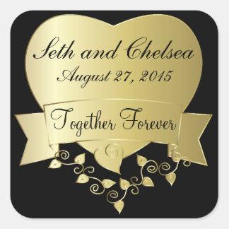 Oro elegante y día de boda negro pegatina cuadrada