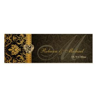 Oro elegante y etiquetas negras del favor del boda tarjetas de visita