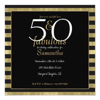 Oro elegante y rayas negras 50 y fabuloso invitación 13,3 cm x 13,3cm