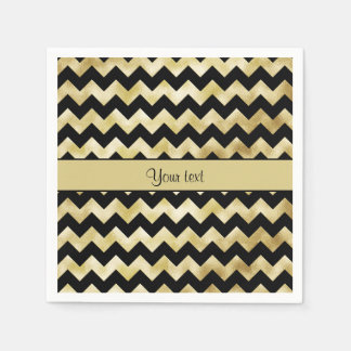Oro elegante y zigzags negros servilletas de papel
