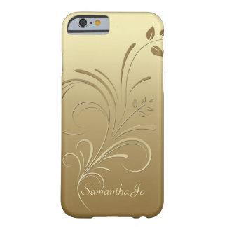 Oro en el caso floral del iPhone 6 del monograma Funda De iPhone 6 Barely There