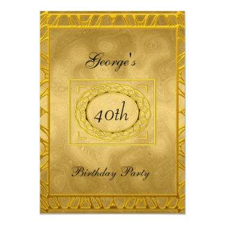 Oro en la invitación de la fiesta de cumpleaños