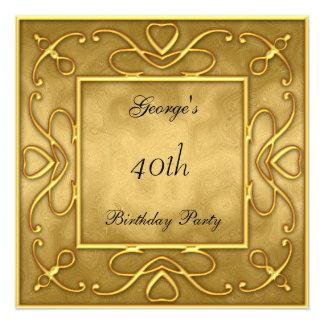 Oro en la invitación del fiesta de Birtday del oro