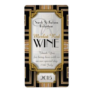 Oro+Etiquetas negras de la botella de vino del Etiqueta De Envío