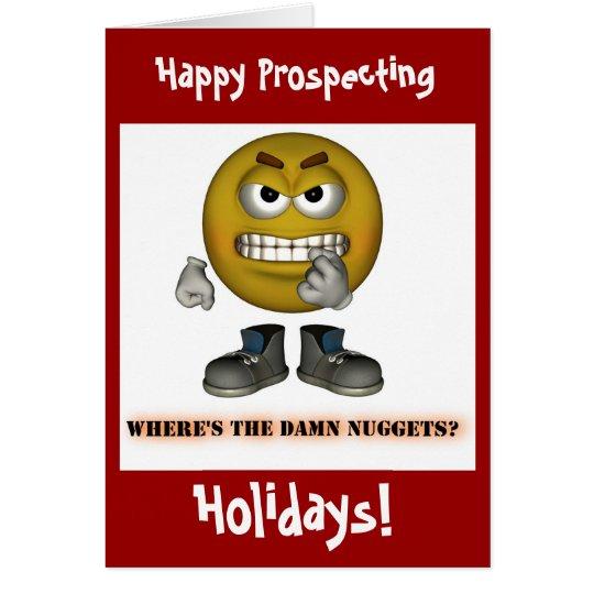 ¡Oro feliz que prospecta tarjetas de Navidad de