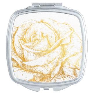 Oro floral del fondo de los rosas de encargo del espejos maquillaje