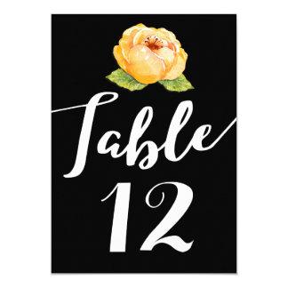 Oro floral en tarjeta negra del número de la tabla invitación 12,7 x 17,8 cm