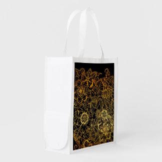 Oro floral reutilizable G523 del Doodle del bolso