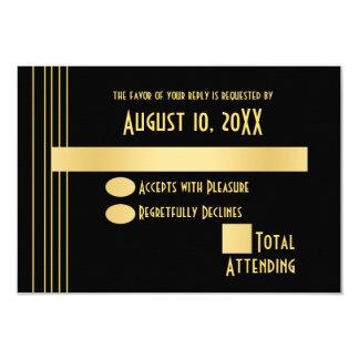 Oro geométrico del art déco y tarjeta negra de la invitación 8,9 x 12,7 cm