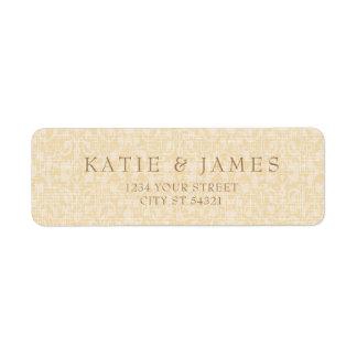 Oro glamoroso y cordón, etiquetas de dirección