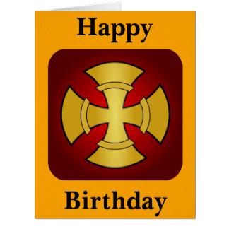 Oro gótico del cumpleaños grande y Cruz Roja Tarjeta De Felicitación Grande