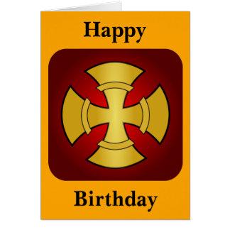 Oro gótico del cumpleaños y Cruz Roja Tarjeta De Felicitación