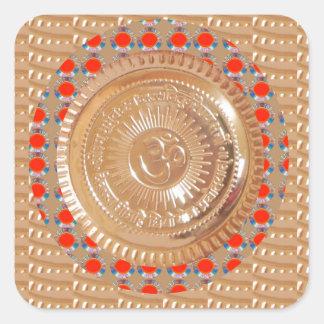 ORO grabado en relieve símbolo del mantra n Pegatina Cuadrada