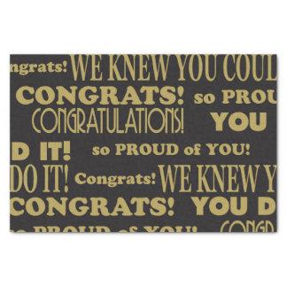 Oro graduado y enhorabuena negra papel de seda